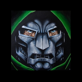 """Dr.Doom"" Acrylics on canvas 195 x 195mm"
