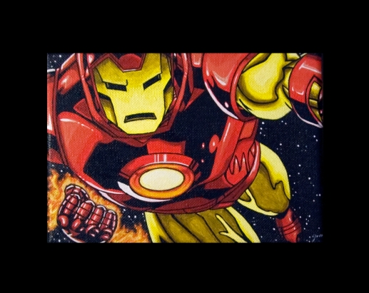 """Iron man"" acrylics on canvas 12.5cm x 18cm"