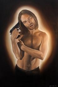 """Happiness is a warm gun"" Oil on linen, 90 x 60 cm"